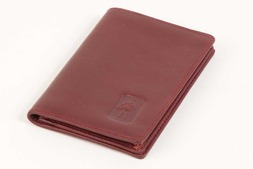 Gusseted leather card case in Oxford