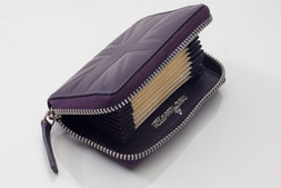 Accordion card case in Britannia leather